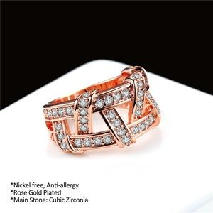 Jewelry - Woven Rose Gold Cubic Zirconia Ring